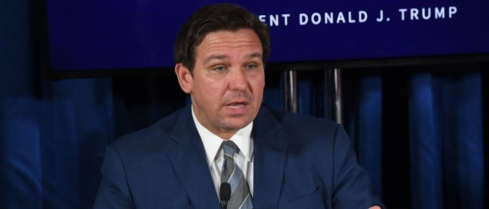 Florida's governor Ron DeSantis speaks during a COVID-19 and storm preparedness roundtable with US President Donald Trump, in Belleair, Florida, July 31, 2020. (Photo by SAUL LOEB/AFP via Getty Images)