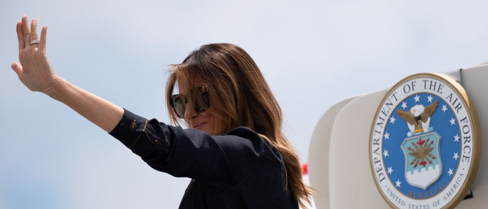 First Lady Melania Trump Boards Plane To West Virginia