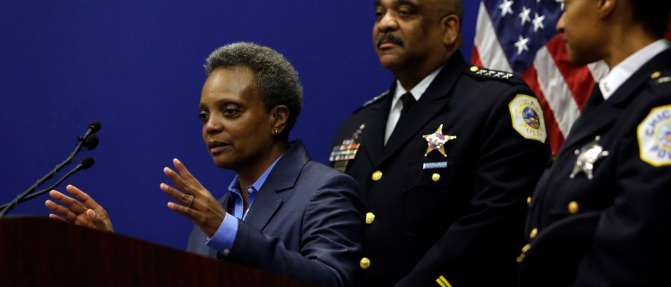 Chicago Mayor Lori Lightfoot speaks about Chicago Police Department Superintendent Eddie Johnson announcing his retirement during a news conference with at the Chicago Police Department's headquarters November 7, 2019 in Chicago, Illinois. Johnson who will retire at the end of the year was promoted to Superintendent in 2016 and has been on the police force for 31 years. (Photo by Joshua Lott/Getty Images)