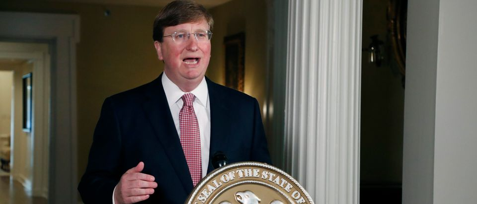 JACKSON, MISSISSIPPI - JUNE 30: Mississippi Republican Gov. Tate Reeves delivers a televised address prior to signing a bill retiring the last state flag in the United States with the Confederate battle emblem, at the Governor's Mansion June 30, 2020 in Jackson, Mississippi. The legislation passed both chambers of the Legislature on Sunday. (Rogelio V. Solis-Pool/Getty Images)