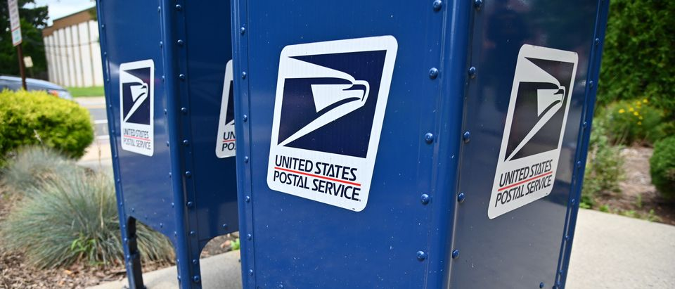 Mailboxes sit outside of the Morris Plains, New Jersey post office on August 17, 2020 in Morris Plains, New Jersey. (Theo Wargo/Getty Images)