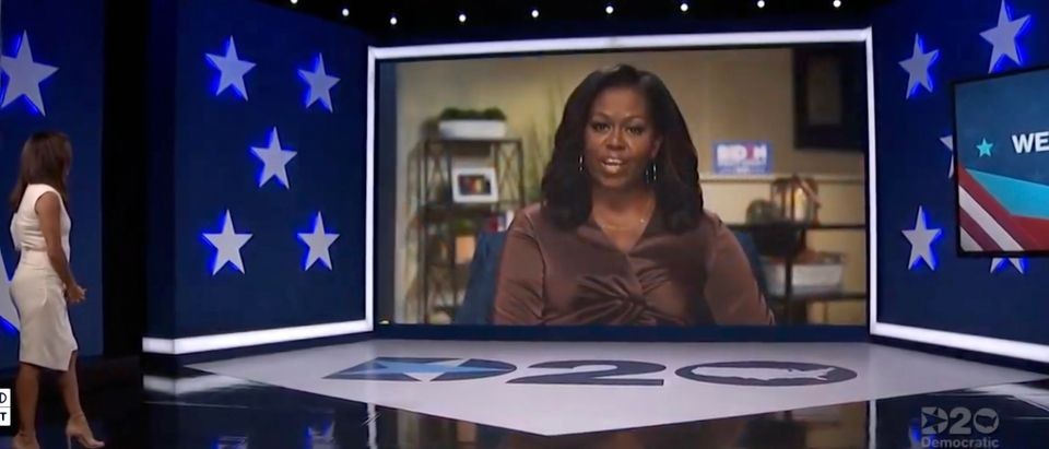 In this screenshot from the DNCC's livestream of the 2020 Democratic National Convention, actress and activist Eva Longoria (L) introduces Former First Lady Michelle Obama to address the virtual convention on August 17, 2020. (Handout/DNCC via Getty Images)