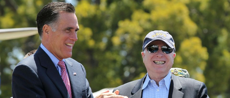 Mitt Romney Campaigns With John McCain At Veterans Museum On Memorial Day