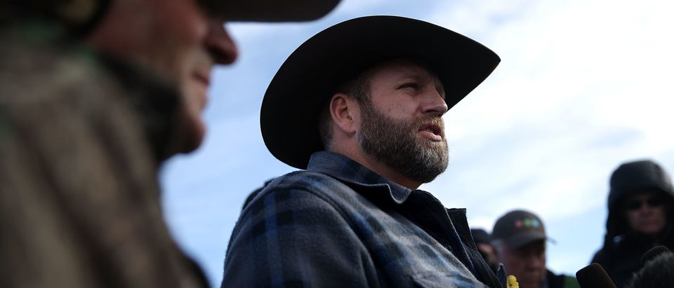 BURNS, OR - JANUARY 06: Ammon Bundy, the leader of an anti-government militia, speaks to members of the media in front of the Malheur National Wildlife Refuge Headquarters on January 6, 2016 near Burns, Oregon. An armed anti-government militia group continues to occupy the Malheur National Wildlife Headquarters as they protest the jailing of two ranchers for arson. (Justin Sullivan/Getty Images)