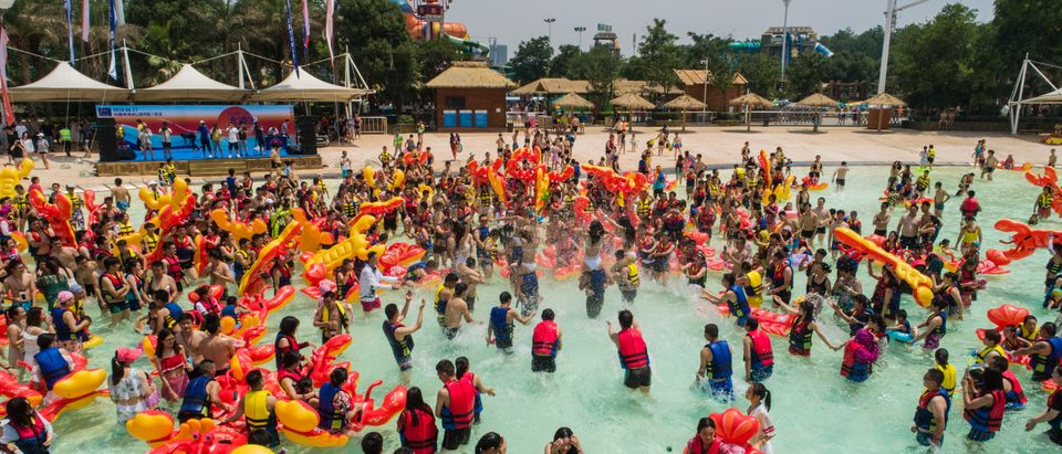 People Play At Water Park In Wuhan