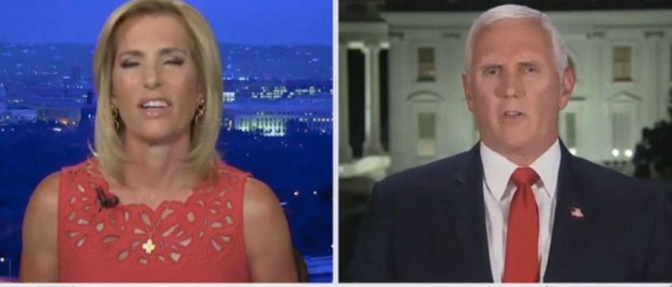 Vice President Mik Pence interviews with Fox News' Laura Ingrahm. (screenshot/Fox News)