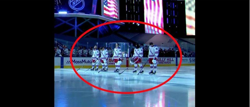 Rangers, Hurricanes Anthem (Credit: Screenshot/NBC Sports Video)