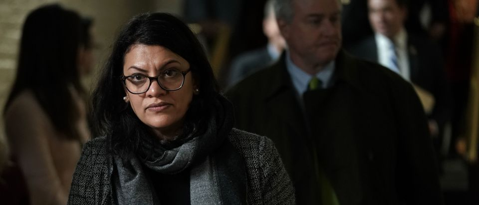 WASHINGTON, DC - JANUARY 09: U.S. Rep. Rashida Tlaib (D-MI) leaves after a caucus meeting at the U.S. Capitol January 9, 2019 in Washington, DC. House Democrats gathered to discuss the Democratic agenda as the partial government shutdown enters day 19. (Photo by Alex Wong/Getty Images)