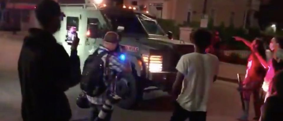 Kenosha rioters appear to halt armored police vehicle (Andy Ngo Twitter/screenshot)