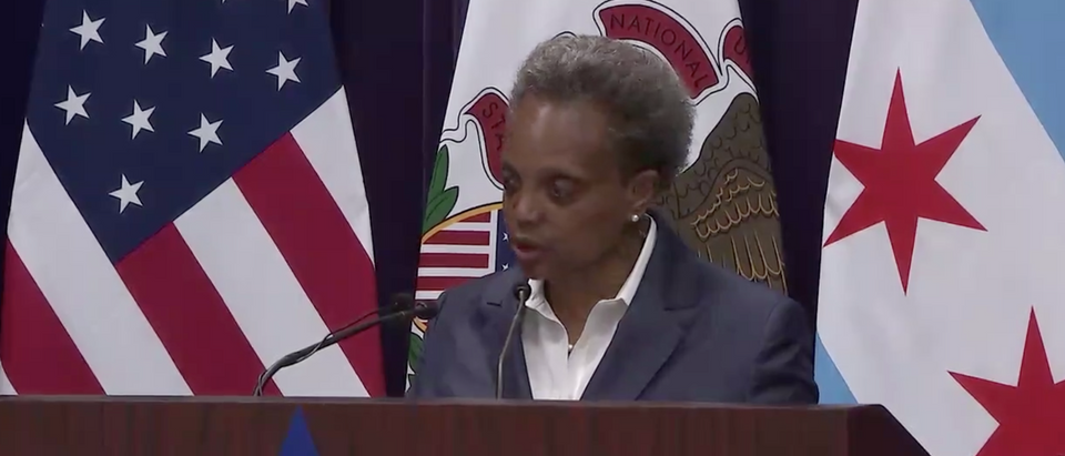 Chicago Mayor Lori Lightfoot condemned mass looting and rioting Monday morning. (Screenshot Twitter Mayor Lori Lightfoot, @chicagosmayor)