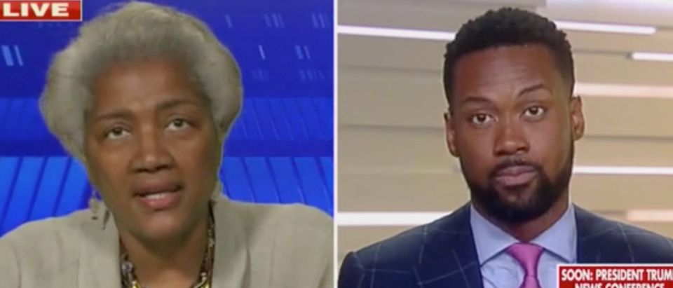 "Donna Brazile and Lawrence Jones appear on ""The Five."" Screenshot/Fox News"