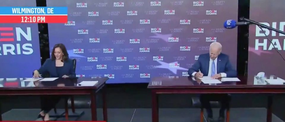 Kamala Harris and Joe Biden sign papers to get on November ballots. Screenshot/MSNBC