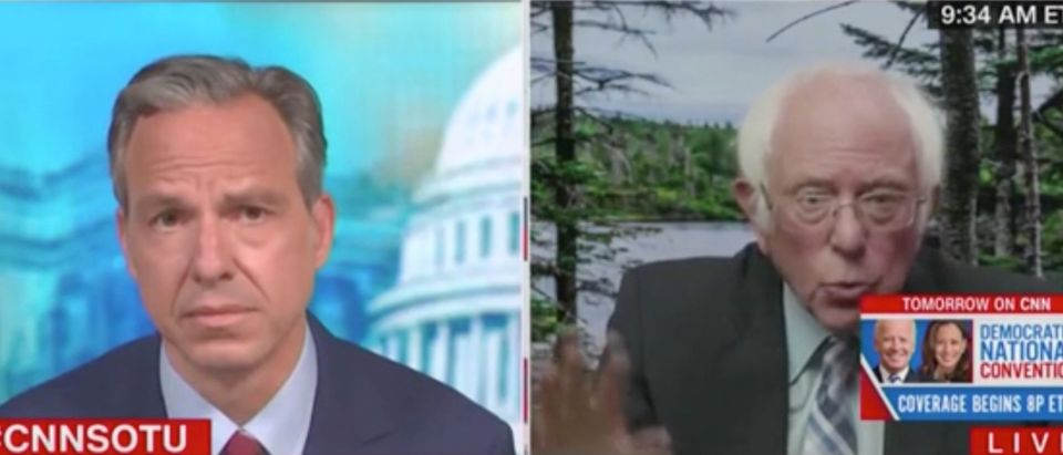 "Jake Tapper and Bernie Sanders appear on ""State of the Union."" Screenshot/CNN"