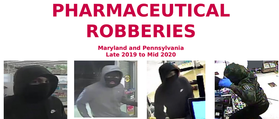 FBI Offers Reward For Unidentified Suspects Wanted In Connection With Pharmacy Robberies