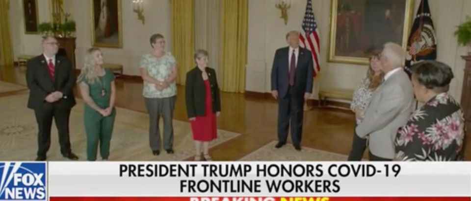 President Trump speaks with frontline workers at the RNC. Screenshot/Fox News