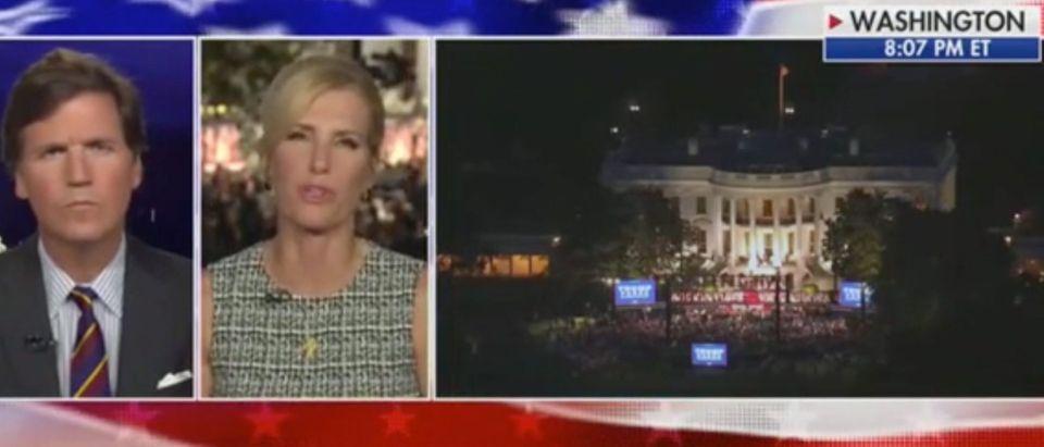 "Laura Ingraham appears on ""Tucker Carlson Tonight."" Screenshot/Fox News"