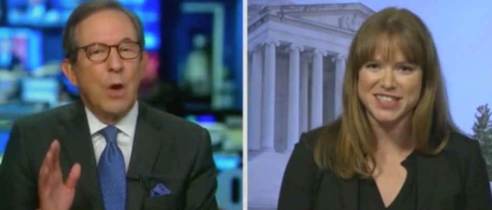 "Chris Wallace and Kate Bedingfield appear on ""Fox News Sunday."" Screenshot/Fox"