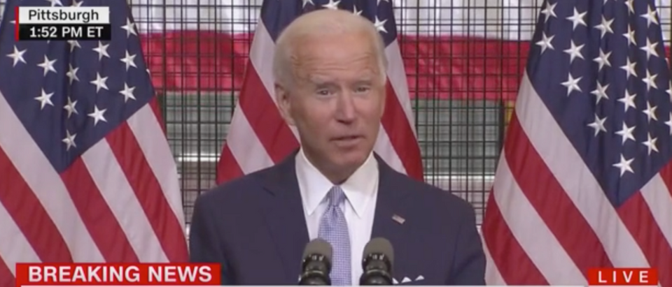 Joe Biden struggled to explain the impact of COVID-19 during a speech in Pittsburgh Monday. (Screenshot CNN)