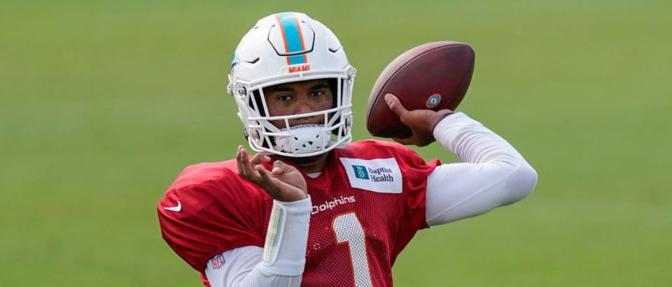 DAVIE, FLORIDA - AUGUST 22: Tua Tagovailoa #1 of the Miami Dolphins throws a pass during training camp at Baptist Health Training Facility at Nova Southern University on August 22, 2020 in Davie, Florida. (Photo by Mark Brown/Getty Images)