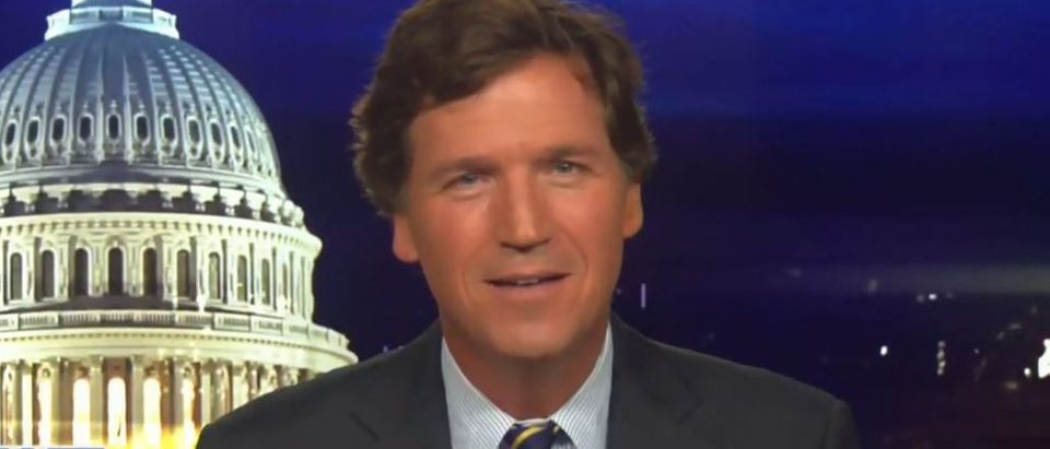 Tucker Carlson pokes fun at Biden (Fox News screengrab)