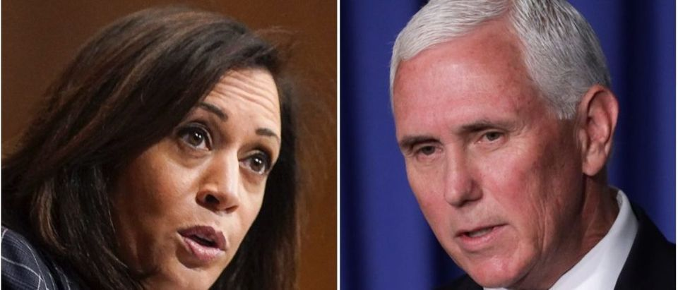 The NYT covered Biden's pick of Kamala Harris and Trump's choice of Mike Pence differently. (Alexander Drago-Pool/Getty Images/Alex Wong/Getty Images)