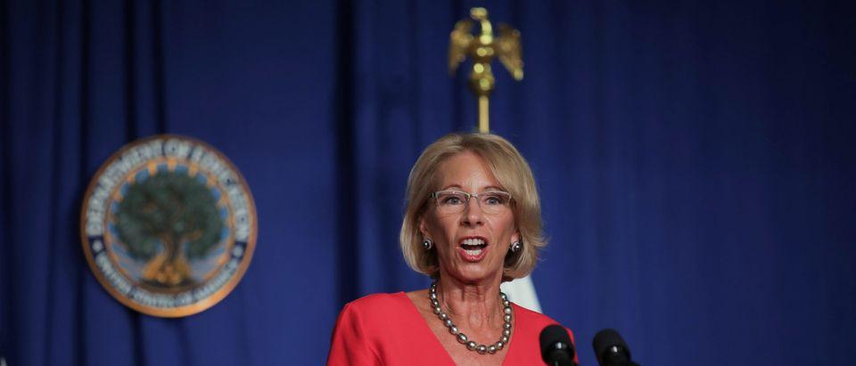 U.S. Education Secretary Betsy Devos speaks at White House coronavirus task force briefing at the Education Department in Washington