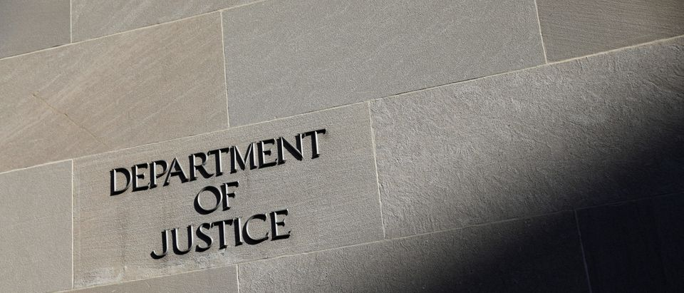 Signage is seen at the United States Department of Justice headquarters in Washington, D.C.