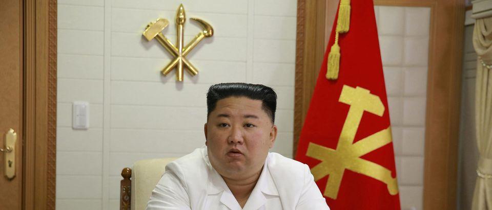 North Korea's leader Kim attends a meeting in Pyongyang
