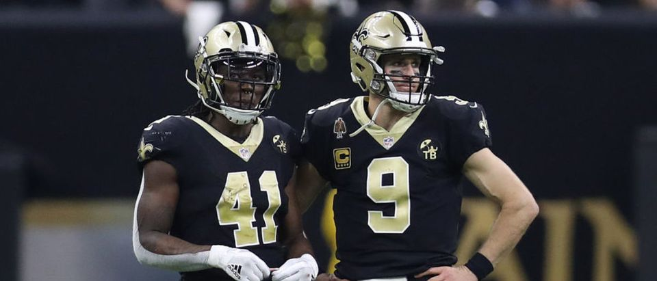 NEW ORLEANS, LOUISIANA - JANUARY 20: Alvin Kamara #41 and Drew Brees #9 of the New Orleans Saints look on against the Los Angeles Rams during the fourth quarter in the NFC Championship game at the Mercedes-Benz Superdome on January 20, 2019 in New Orleans, Louisiana. (Photo by Jonathan Bachman/Getty Images)