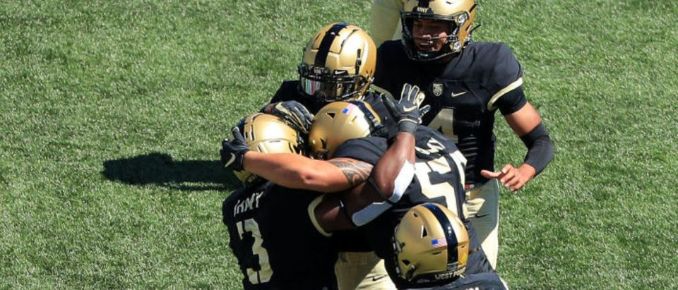 WEST POINT, NEW YORK - SEPTEMBER 05: Sandon McCoy #3 of the Army Black Knights reacts after a touchdown run in the first half against the Middle Tennessee Blue Raiders at Michie Stadium on September 5, 2020 in West Point, New York. (Photo by Mike Lawrie/Getty Images)