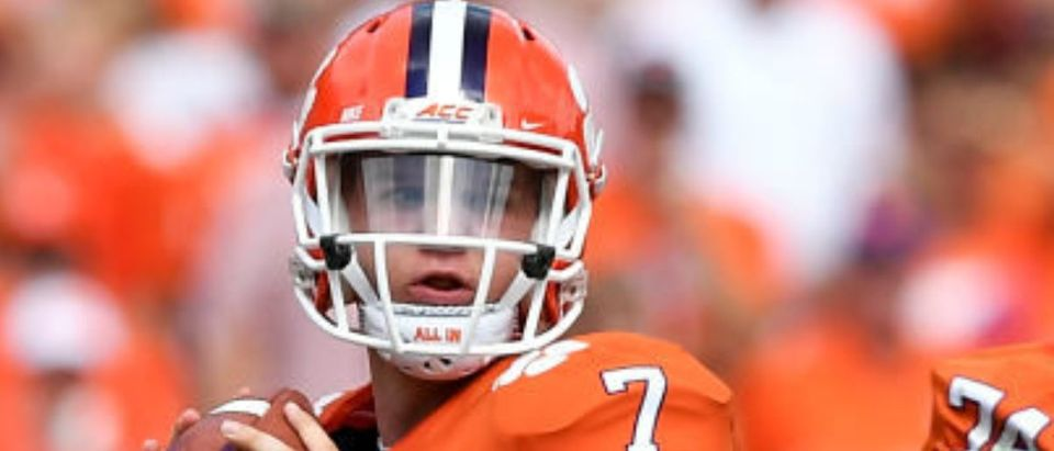 CLEMSON, SC - SEPTEMBER 29: Quarterback Chase Brice #7 drops back to pass against the Syracuse Orange during the football game at Clemson Memorial Stadium on September 29, 2018 in Clemson, South Carolina. (Photo by Mike Comer/Getty Images)