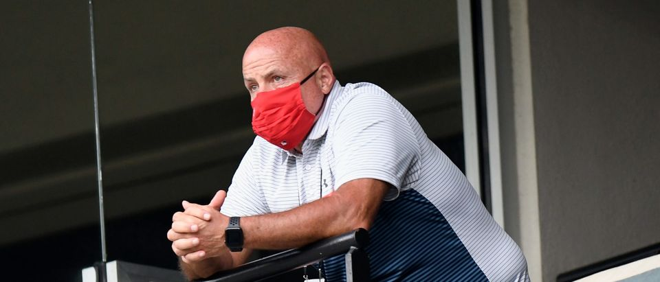 General manager Mike Rizzo of the Washington Nationals watches the game in the sixth inning against the Baltimore Orioles at Oriole Park at Camden Yards on August 14, 2020 in Baltimore, Maryland. The game was a continuation of a suspended game from August 9, 2020. Greg Fiume/Getty Images