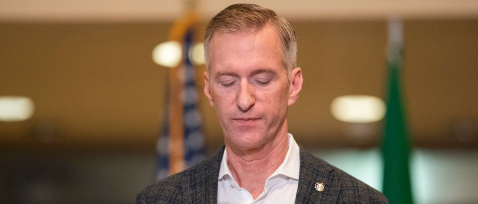 PORTLAND, OR - AUGUST 30: Portland Mayor Ted Wheeler speaks to the media at City Hall on August 30, 2020 in Portland, Oregon. A man was fatally shot Saturday night as a Pro-Trump rally clashed with Black Lives Matter protesters in downtown Portland. (Nathan Howard/Getty Images)