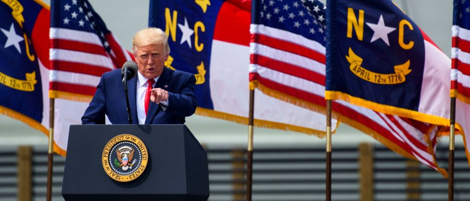 President Donald Trump Speaks At U.S.S. Battleship North Carolina