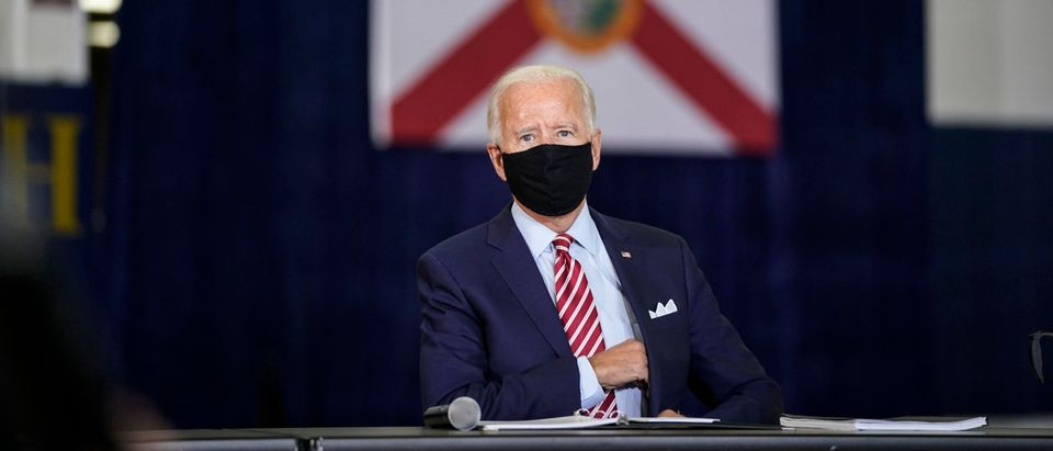 TAMPA, FL - SEPTEMBER 15: Democratic presidential nominee and former Vice President Joe Biden participates in a roundtable event with military veterans at Hillsborough Community College on September 15, 2020 in Tampa, Florida. Biden is making stops in Tampa and Kissimmee in the pivotal swing state of Florida. (Drew Angerer/Getty Images)