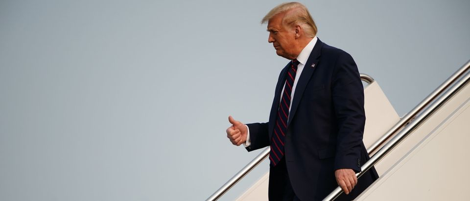 US President Donald Trump gives a thumb's up as he steps off Air Force One upon arrival at Philadelphia International Airport in Philadelphia on September 15, 2020. - Trump is traveling to Philadelphia for a town hall event. (Photo by Mandel Ngan/AFP via Getty Images)