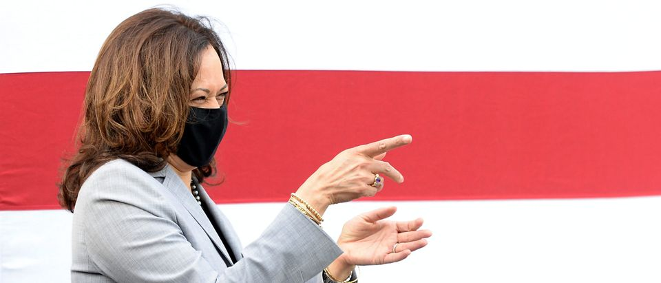 RALEIGH, NC - SEPTEMBER 28: Democratic vice presidential nominee, Sen. Kamala Harris (D-CA) speaks at a Shop Talk held outside Whites Barbershop on September 28, 2020 in Raleigh, North Carolina. Harris's campaign swing to the state comes a day before the first presidential debate between running mate Joe Biden and President Donald Trump. (Sara D. Davis/Getty Images)