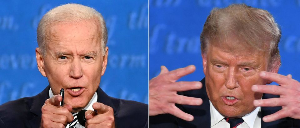 This combination of pictures created on September 29, 2020 shows Democratic Presidential candidate and former US Vice President Joe Biden (L) and US President Donald Trump speaking during the first presidential debate at the Case Western Reserve University and Cleveland Clinic in Cleveland, Ohio on September 29, 2020. (JIM WATSON,SAUL LOEB/AFP via Getty Images)