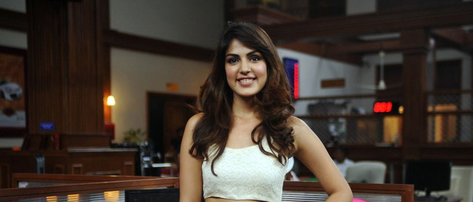 Indian Bollywood actress Rhea Chakraborty poses for a photograph during a promotional event for the forthcoming Hindi film 'Bank Chor' in Mumbai on October 8, 2014. (Strdel/AFP via Getty Images)