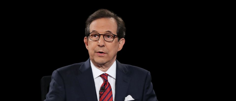 Fox News anchor and moderator Chris Wallace asks the candidates a question during the third U.S. presidential debate at the Thomas & Mack Center on October 19, 2016 in Las Vegas, Nevada. (Joe Raedle/Getty Images)