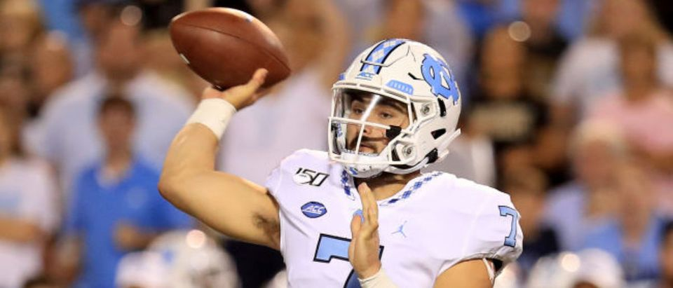 WINSTON SALEM, NORTH CAROLINA - SEPTEMBER 13: Sam Howell #7 of the North Carolina Tar Heels drops back to pass against the Wake Forest Demon Deacons during their game at BB&T Field on September 13, 2019 in Winston Salem, North Carolina. (Photo by Streeter Lecka/Getty Images)