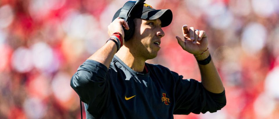 LUBBOCK, TEXAS - OCTOBER 19: Head coach Matt Campbell of the Iowa State Cyclones walks to the sideline during the first half of the college football game against the Texas Tech Red Raiders on October 19, 2019 at Jones AT&T Stadium in Lubbock, Texas. (Photo by John E. Moore III/Getty Images)