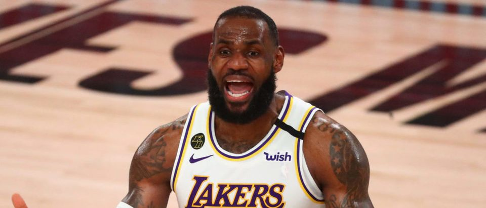 Sep 12, 2020; Lake Buena Vista, Florida, USA; Los Angeles Lakers forward LeBron James (23) reacts in the second half of game five of the second round against the Houston Rockets of the 2020 NBA Playoffs at ESPN Wide World of Sports Complex. Mandatory Credit: Kim Klement-USA TODAY Sports via Reuters