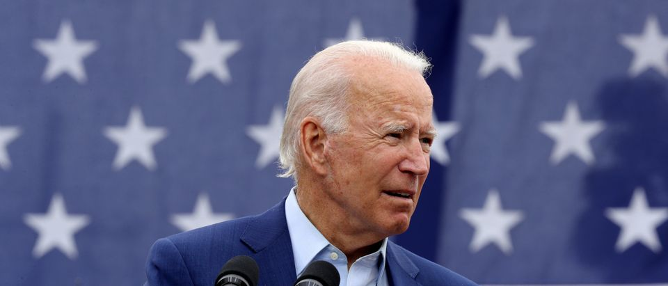 WARREN, MICHIGAN - SEPTEMBER 09: Democratic presidential nominee and former Vice President Joe Biden delivers remarks in the parking lot outside the United Auto Workers Region 1 offices on September 09, 2020 in Warren, Michigan. Biden is campaigning in Michigan, a state President Donald Trump won in 2016 by less than 11,000 votes, the narrowest margin of victory in state's presidential election history. (Photo by Chip Somodevilla/Getty Images)