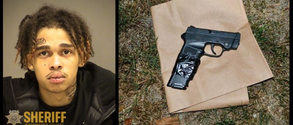 Josiah Johnson and firearm allegedly used in botched robbery/Washington County Sheriff's Office