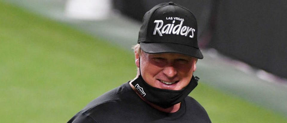 LAS VEGAS, NEVADA - SEPTEMBER 21: Head coach Jon Gruden of the Las Vegas Raiders smiles after the Raiders defeated the New Orleans Saints 34-24 in the NFL game at Allegiant Stadium on September 21, 2020 in Las Vegas, Nevada. (Photo by Ethan Miller/Getty Images)