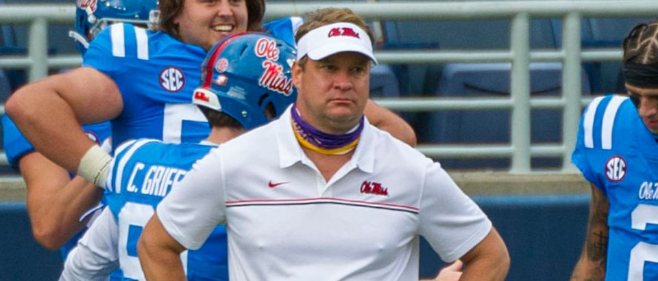 Sep 26, 2020; Oxford, Mississippi, USA; Mississippi Rebels head coach Lane Kiffin before the game against the Florida Gators at Vaught-Hemingway Stadium. Mandatory Credit: Justin Ford-USA TODAY Sports via Reuters