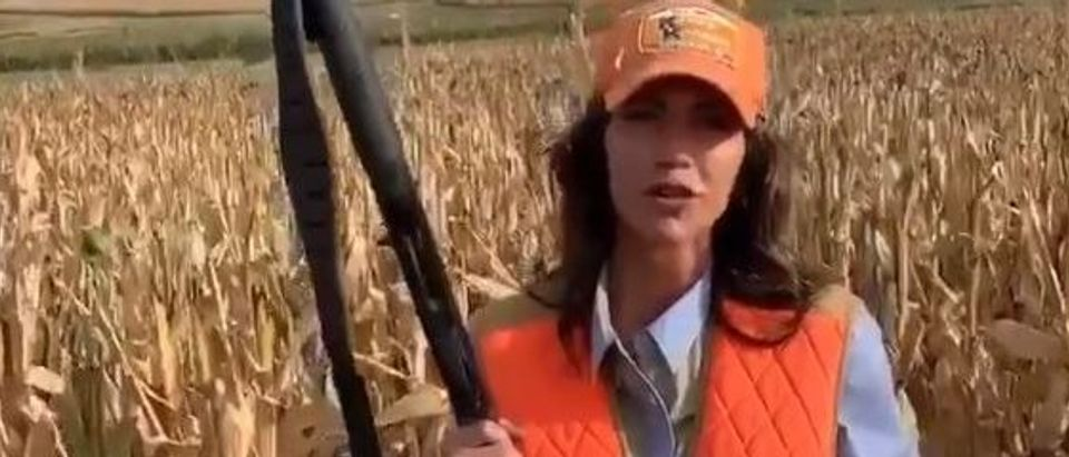 Kristi Noem posts video of herself shooting bird (Twitter screengrab)