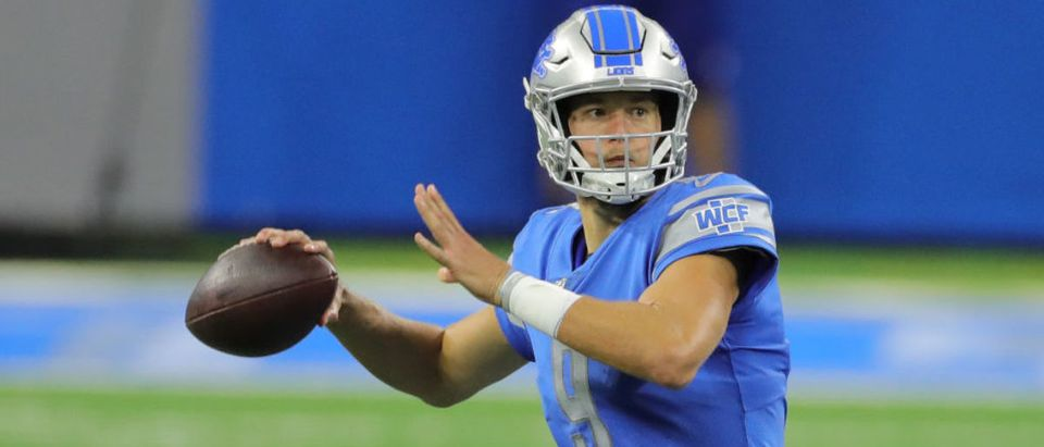 DETROIT, MI - SEPTEMBER 13: Matthew Stafford #9 of the Detroit Lions drops to pass during the second quarter against the Chicago Bears at Ford Field on September 13, 2020 in Detroit, Michigan. (Photo by Leon Halip/Getty Images)