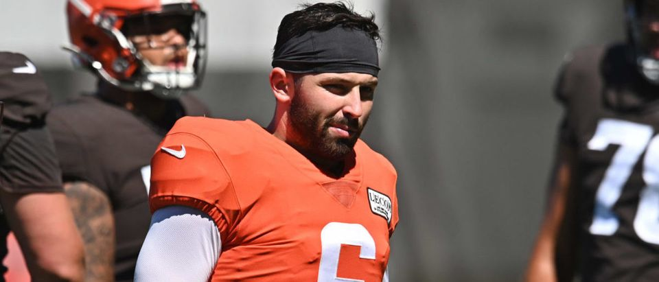 Aug 19, 2020; Berea, Ohio, USA; Cleveland Browns quarterback Baker Mayfield (6) during training camp at the Cleveland Browns training facility. Mandatory Credit: Ken Blaze-USA TODAY Sports via Reuters